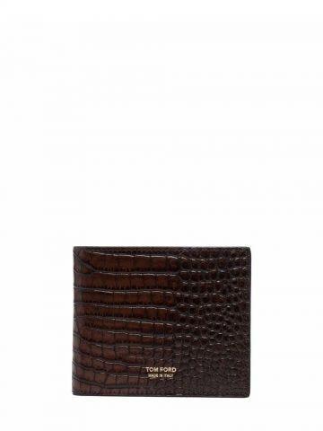 Brown crocodile-effect folded wallet