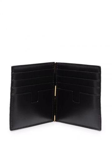 Brown crocodile effect money clip wallet