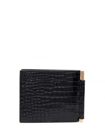 Black crocodile effect money clip wallet