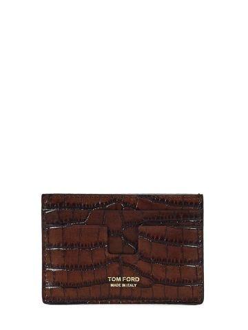 Brown croc-effect T Line cardholder