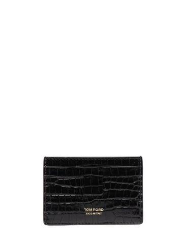 Black croc-effect T Line cardholder