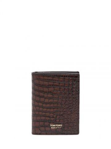 Brown crocodile effect wallet