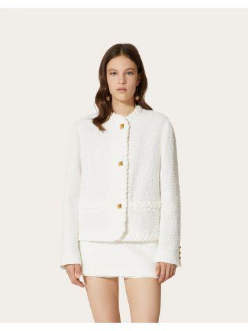 White cotton tweed jacket with Roman Studs detail