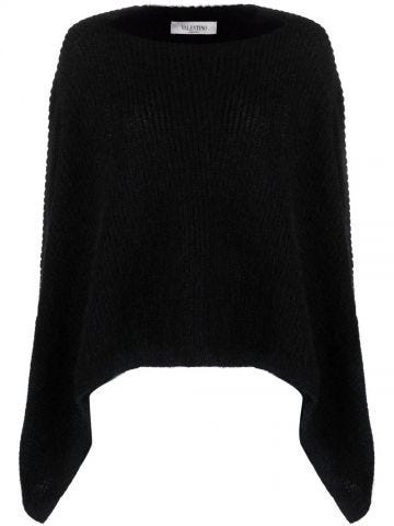Black asymmetric hem sweater