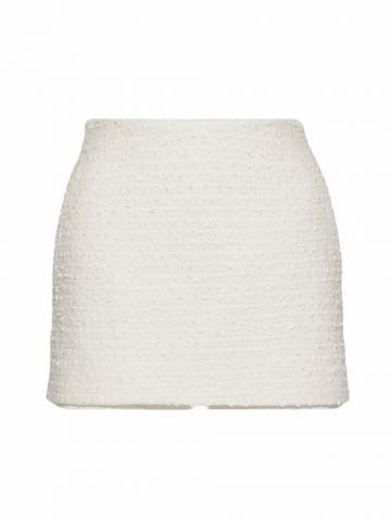 Skort in white cotton tweed