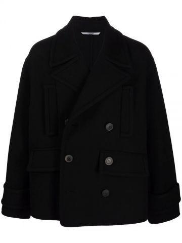 Cappotto doppiopetto nero in lana vergine