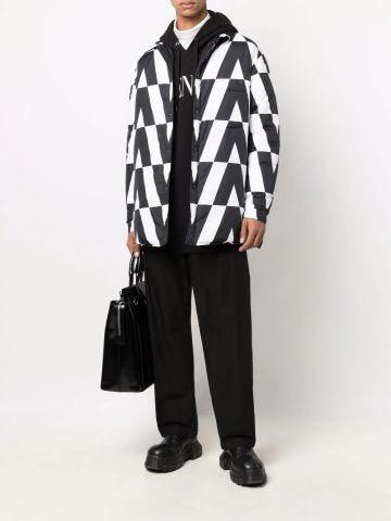 Optical Valentino reversible puffer jacket