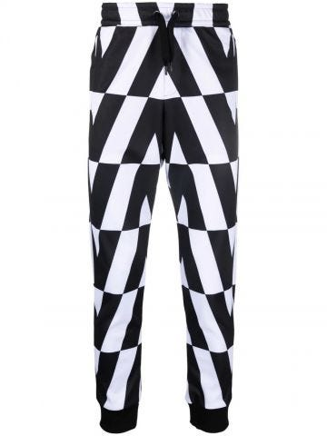 Technical cotton trousers with macro optical Valentino print