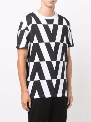 Cotton T-shirt with Macro Optical Valentino Print
