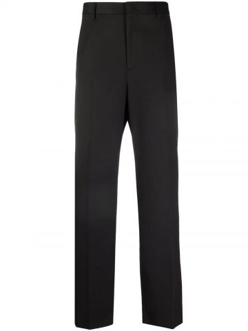 Black straight tailored trousers