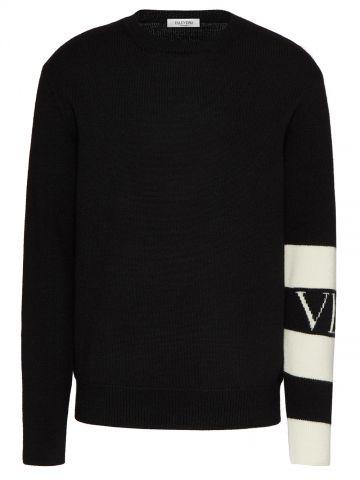 Wool crew neck sweater with black VLTN Logo