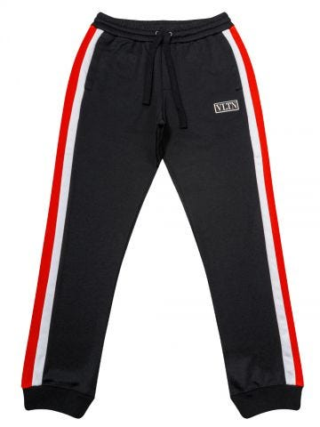 Black Track Pants with Stripes