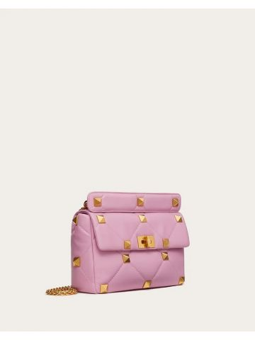 Large Roman Stud The Shoulder Bag in pink nappa with chain
