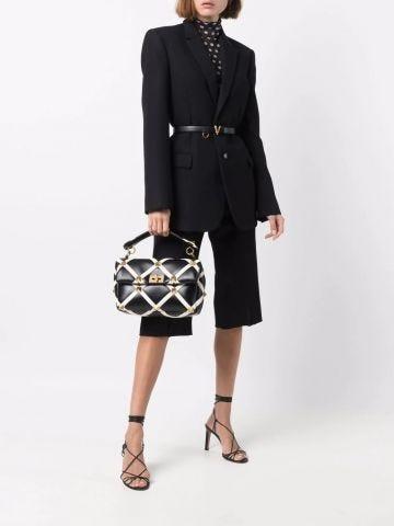 Large Roman Stud The Shoulder Bag in black nappa with grid detailing