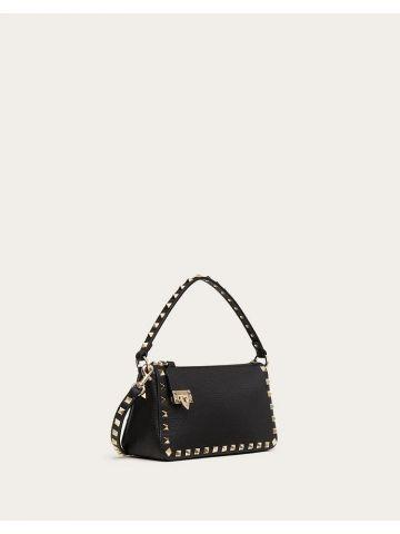 Small Rockstud shoulder bag in black garnet calfskin