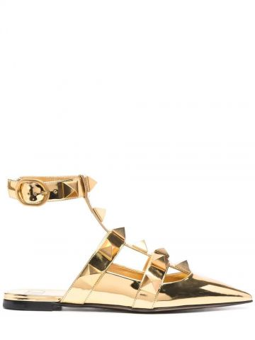 Gold Roman Stud ballet in calfskin