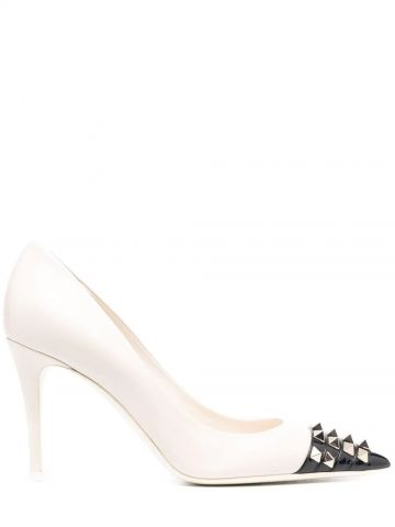 White Rockstud Alcove kidskin and patent-leather pump 90 mm