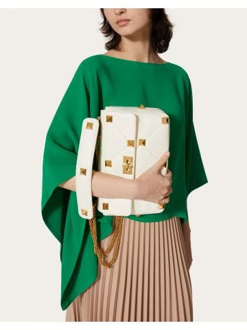 Large Roman Stud The Shoulder Bag in white nappa with chain