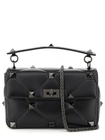 Large bag with chain Roman Stud The Shoulder Bag in black