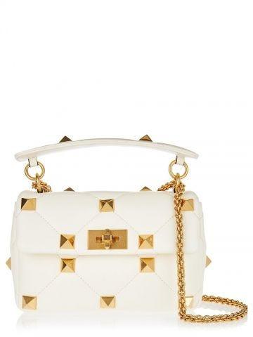 White medium nappa Roman Stud The Shoulder Bag with chain