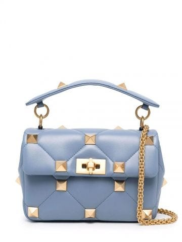 Blue medium nappa Roman Stud The Shoulder Bag with chain