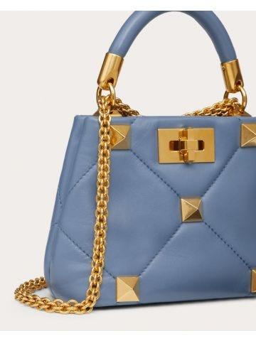 Blue Roman Stud sheep leather handbag