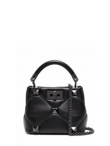 Borsa piccola a mano Roman Stud The Handle Bag in nappa nero