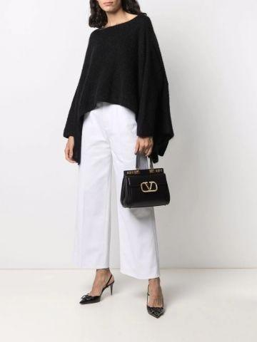 Medium Rockstud Alcove handbag in black grainy calfskin