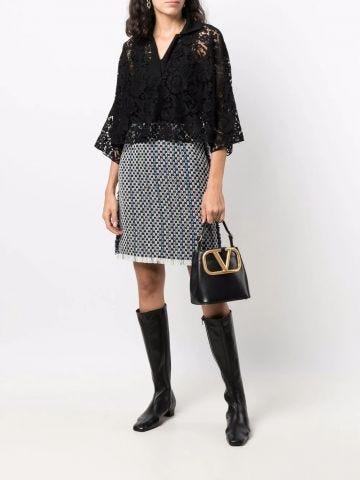Supervee handbag in black calfskin