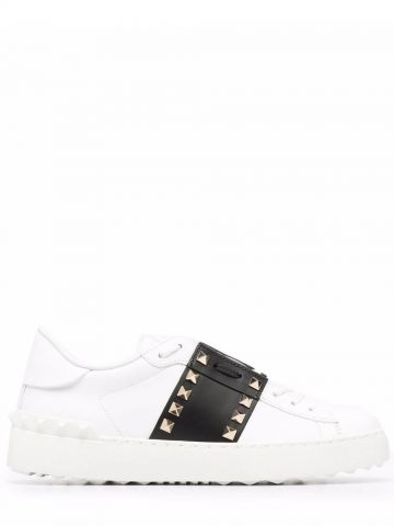 Rockstud Untitled sneakers in white calfskin leather with black stripe