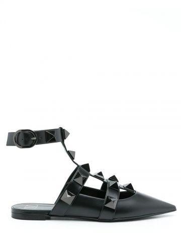 Roman Stud ballet flat in black calfskin leather with tonal studs