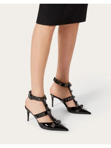 Black Roman Stud pump in patent-leather and total studs 80MM