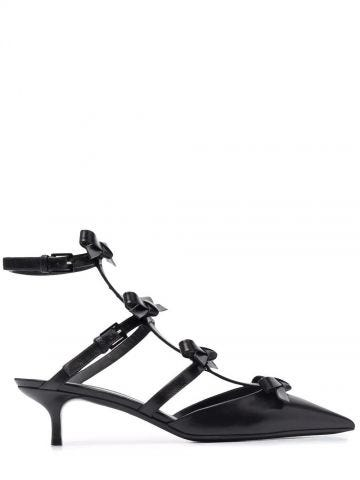Black French Bows kidskin pumps with ankle straps