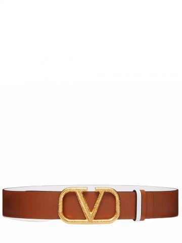 Brown Reversible VLogo Signature Belt in glossy calfskin 40 mm
