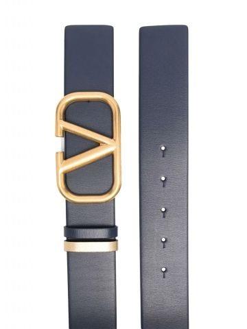 Blue Reversible VLogo Signature Belt in glossy calfskin 40 mm