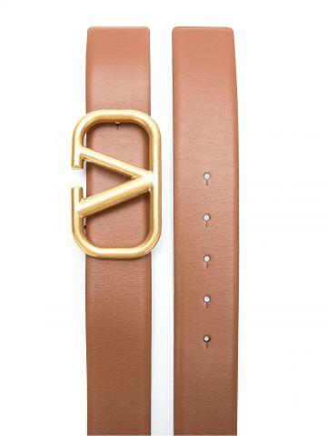 Reversible VLogo Signature Belt in glossy brown calfskin 40 mm
