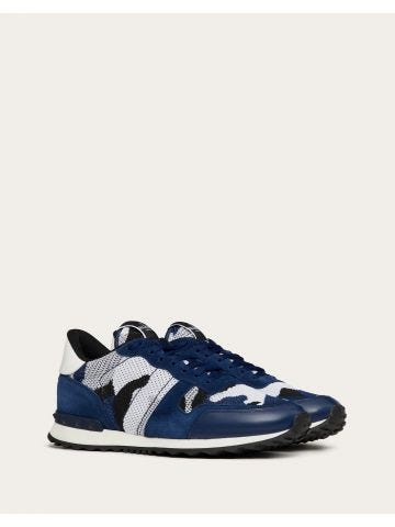 Blue mesh fabric camouflage Rockrunner sneakers