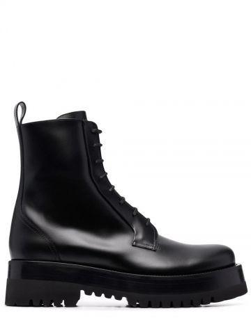 Black Upraise calfskin combat boot