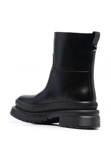Black Roman Stud calfskin ankle boots