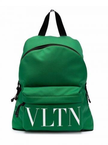 Green and black logo-print backpack