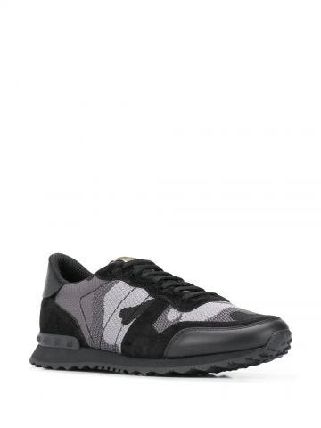 Sneakers Rockrunner Camouflage nere in tessuto-rete