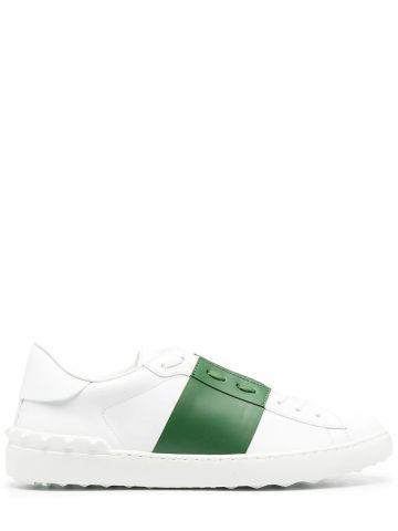 Open white calfskin sneaker
