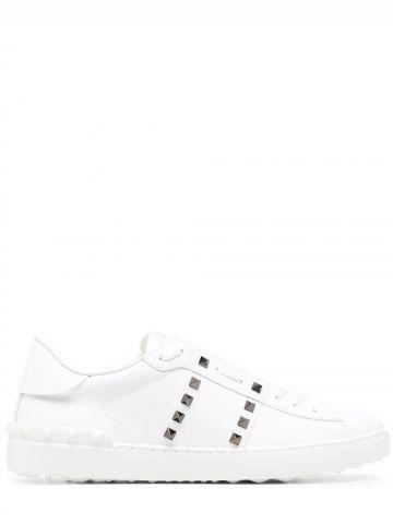 Rockstud Untitled sneaker in white calfskin leather