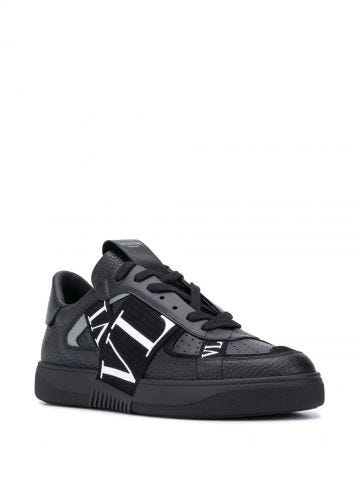 Sneakers low-top VL7N in vitello nero e nastri