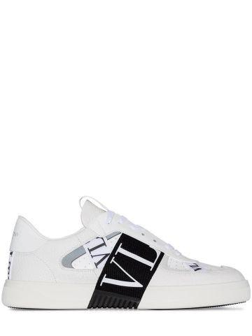 Sneakers low-top VL7N in vitello bianco e nastri