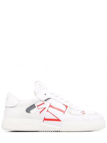 White low-top calfskin VL7N sneakers with bands