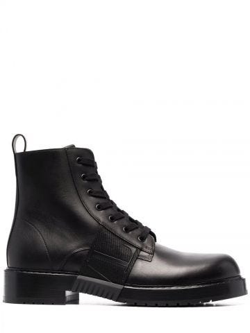 VL7N City Combat boot in black calfskin leather with band
