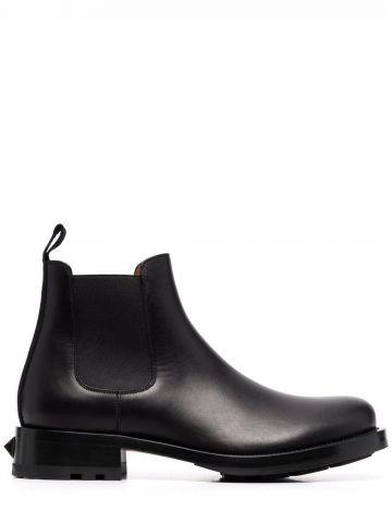 Black Roman Stud Calfskin Chelsea Boot