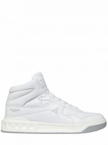 ONE STUD Mid-Top white calfskin sneakers