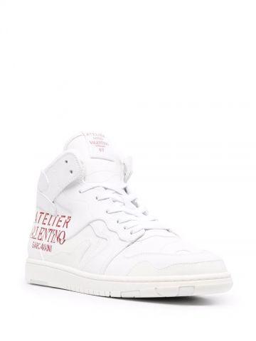 Sneakers mid-top Atelier shoes Valentino Garavani 07 Camouflage Edition in vitello bianco